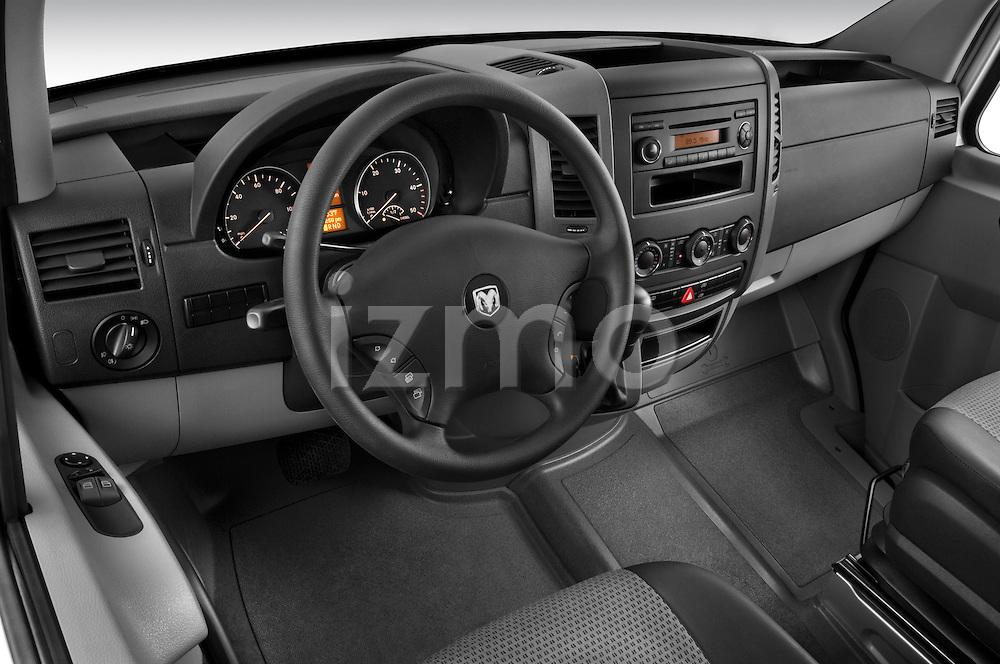 High angle dashboard view of a 2008 Dodge Sprinter Passenger Van