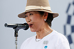 Tokyo governor Yuriko Koike speaks during the 3 Years to Go! ceremony for the Tokyo 2020 Paralympic games at Urban Dock LaLaport Toyosu on August 25, 2017. The Games are set to start on August 25th 2020. (Photo by Rodrigo Reyes Marin/AFLO)