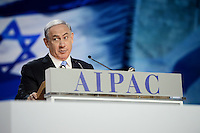 Washington, DC - March 2, 2015: Israeli Prime Minister Benjamin Netanyahu addresses attendees of the American Israeli Public Affairs Committee Policy Conference at the Washington Convention Center, March 2, 2015.   (Photo by Don Baxter/Media Images International)