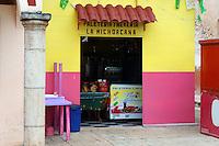 Ice cream shop or paleteria  in Santa Elena, Yucatan, Mexico.