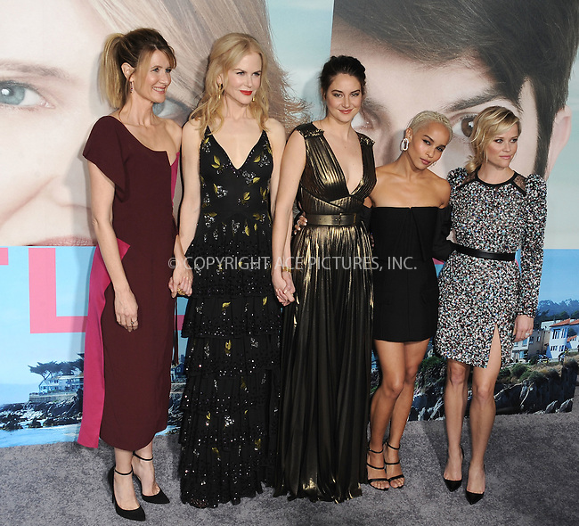 www.acepixs.com<br /> <br /> February 7 2017, LA<br /> <br /> (L-R) Laura Dern, Nicole Kidman, Shailene Woodley, Zoe Kravitz and Reese Witherspoon arriving at the premiere Of HBO's 'Big Little Lies' at the TCL Chinese Theatre on February 7, 2017 in Hollywood, California.<br /> <br /> By Line: Peter West/ACE Pictures<br /> <br /> <br /> ACE Pictures Inc<br /> Tel: 6467670430<br /> Email: info@acepixs.com<br /> www.acepixs.com