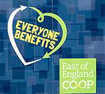 Everyone Benefits East of England Co-operative Society shop advertising boards hoardings, Woodbridge, Suffolk, UK