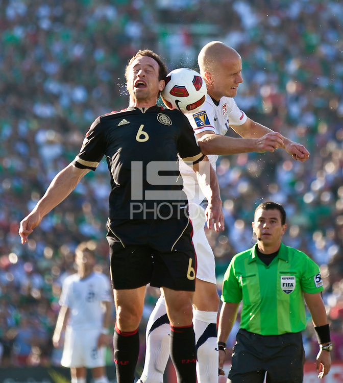 PASADENA, CA – June 25, 2011: Mexico player Gerardo Torrado (6) and USA player Michael Bradley (4) during the Gold Cup Final match between USA and Mexico at the Rose Bowl in Pasadena, California. Final score USA 2 and Mexico 4.