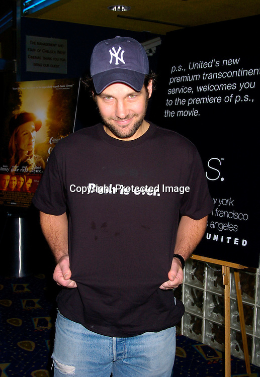"Paul Rudd ..at the New York Premiere of ""ps"" on October 12, 2004 ..at the Clearview Chelsea West. ..Photo by Robin Platzer, Twin Images"