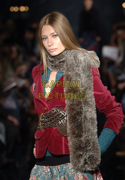 MODEL.At the Morgan De Toi Catwalk Fashion Show, AW'05/06 Collection,The Undercroft, Banqueting House, Whitehall, London, May 25th 2005..half length fur scarf belt red maroon jacket patterned print skirt .Ref: PL.www.capitalpictures.com.sales@capitalpictures.com.©Capital Pictures