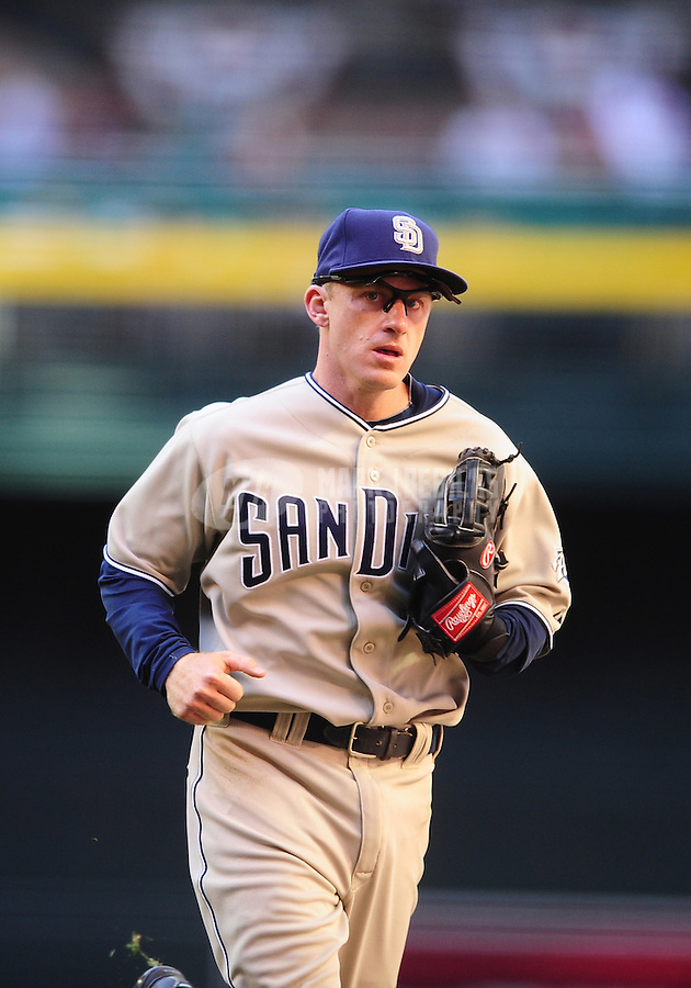 Apr. 5, 2010; Phoenix, AZ, USA; San Diego Padres second baseman David Eckstein against the Arizona Diamondbacks during opening day at Chase Field. Mandatory Credit: Mark J. Rebilas-