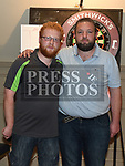 Finalists Mark Clinton and Jamie Heavey in the Jillian Thornton Memorial darts tournament held in the Thatch. Photo:Colin Bell/pressphotos.ie