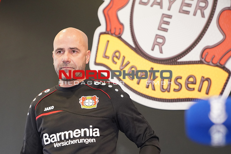 04.01.2019, BayArena, Leverkusen, GER, 1. FBL,  Bayer 04 Leverkusen PK Trainerwechsel,<br />  <br /> DFL regulations prohibit any use of photographs as image sequences and/or quasi-video<br /> <br /> im Bild / picture shows: <br /> erste Pressekonferenz von Peter Bosz Trainer / Headcoach (Bayer 04 Leverkusen),<br /> <br /> Foto &copy; nordphoto / Meuter