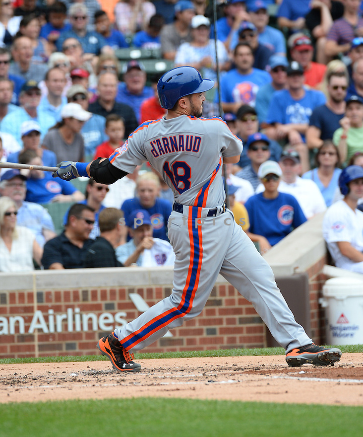 New York Mets Travis D'Arnaud (18) during a game against the Chicago Cubs on July 20, 2016 at Wrigley Field in Chicago, IL. The Cubs beat the Mets 6-2.