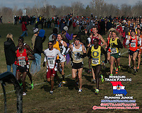 Harvard senior Maksim Korolev towers above the competition, sitting in ninth place, 2200 meters in the mens 10k at the 2013 NCAA Division I Cross Country Championships.