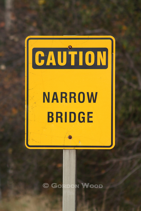 Caution Narrow Bridge Sign on Rural Road