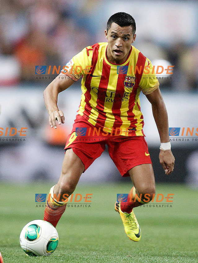 FC Barcelona's Alexis Sanchez during Supercup of Spain 1st match.August 21,2013. (ALTERPHOTOS/Acero) <br /> Football Calcio 2013/2014<br /> Supercoppa di Spagna <br /> Foto Alterphotos / Insidefoto <br /> ITALY ONLY <br /> Atletico Madrid - Barcellona