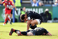 Jackson Willison of Bath Rugby looks dejected after team-mate Freddie Burns drops the ball in the act of scoring. Heineken Champions Cup match, between Bath Rugby and Stade Toulousain on October 13, 2018 at the Recreation Ground in Bath, England. Photo by: Patrick Khachfe / Onside Images