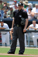 Home plate umpire Brian Peterson during a game between the Augusta GreenJackets and the Asheville Tourists at McCormick Field on June 30, 2013 in Asheville, North Carolina. The GreenJackets won the game 9-7. (Tony Farlow/Four Seam Images)