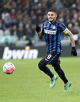Calcio, Serie A: Juventus vs Inter. Torino, Juventus Stadium, 28 February 2016.<br /> Inter's Mauro Icardi in action during the Italian Serie A football match between Juventus and Inter at Turin's Juventus Stadium, 28 February 2016.<br /> UPDATE IMAGES PRESS/Isabella Bonotto