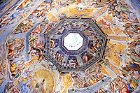 Fresco of the Last Judgement on the inside of the Dome by Vasari, begun in 1568, and completed by Federico Zuccaro in 1579. Duomo of Florence,  Basilica of Saint Mary of the Flower; Firenza ( Basilica di Santa Maria del Fiore ).  Built between 1293 & 1436. Italy