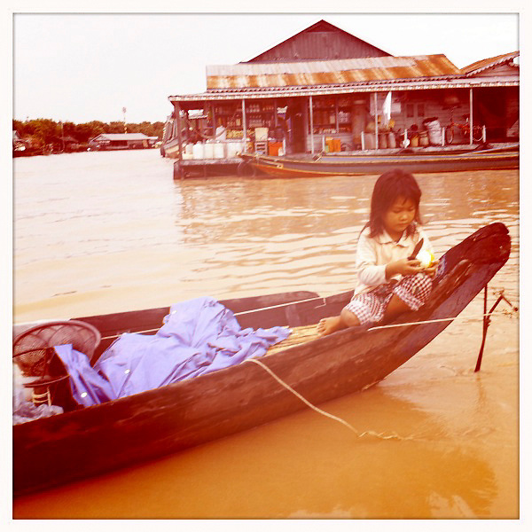 Little girl on a boat in Cambodia.