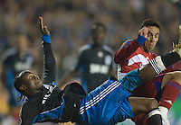 Peguero Jean Phillipe tries to knock in a bicycle kick in the second half. .The San Jose Earthquakes tied FC Dallas 0-0, at Buck Shaw Stadium, in Santa Clara, California, Saturday, May 3, 2008. .