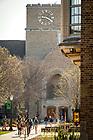 April 30, 2018; Students walk near O'Shaughnessy Hall, spring 2018. (Photo by Matt Cashore/University of Notre Dame)