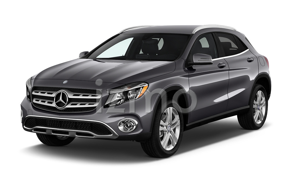 2018 Mercedes Benz GLA GLA250 5 Door SUV angular front stock photos of front three quarter view