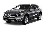 2018 Mercedes Benz GLA GLA250 5 Door SUV angular front stock photos of front three quarter view