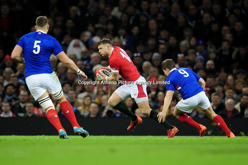 Dan Biggar of Wales in action during the Guinness Six Nations Championship Round 3 match between Wales and France at the Principality Stadium in Cardiff, Wales, UK. Saturday 22 February 2020