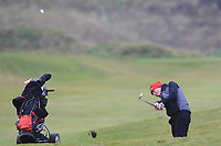 Robbie Davidson (Knock) on the 12th during Round 2 of the Ulster Boys Championship at Portrush Golf Club, Portrush, Co. Antrim on the Valley course on Wednesday 31st Oct 2018.<br /> Picture:  Thos Caffrey / www.golffile.ie<br /> <br /> All photo usage must carry mandatory copyright credit (&copy; Golffile | Thos Caffrey)