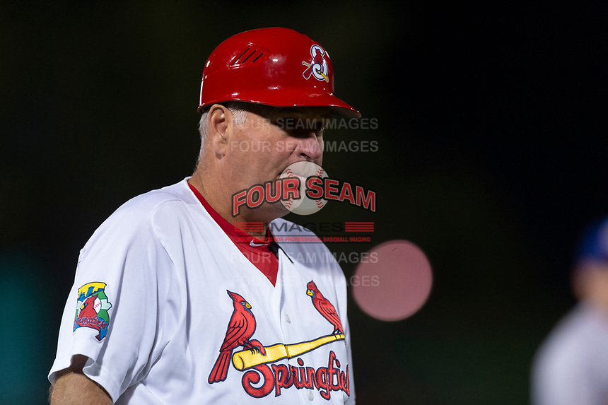 Springfield Cardinals manager Joe Kruzel (13) during a Texas League game against the Amarillo Sod Poodles on April 25, 2019 at Hammons Field in Springfield, Missouri. Springfield defeated Amarillo 8-0. (Zachary Lucy/Four Seam Images)