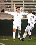 16 November 2007: Boston College's Paul Gerstenberger (2) prepares to accept congratulations from teammate Mike Konicoff (21) for his first half goal. Boston College defeated Virginia Tech 3-1 at SAS Stadium in Cary, NC in an Atlantic Coast Conference Men's Soccer tournament semifinal.