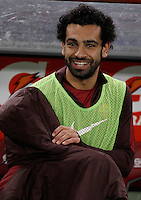 Calcio, Serie A: Roma vs Milan. Roma, stadio Olimpico, 9 gennaio 2016.<br /> Roma's Mohamed Salah smiles prior to the start of the Italian Serie A football match between Roma and Milan at Rome's Olympic stadium, 9 January 2016.<br /> UPDATE IMAGES PRESS/Isabella Bonotto