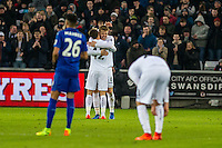 Alfie Mawson of Swansea City  Celebrates his goal during the Premier League match between Swansea City and Leicester City at The Liberty Stadium, Swansea, Wales, UK. Sunday 12 February 2017