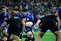 France's Bernard Le Roux takes the ball up during the Steinlager Series international rugby match between the New Zealand All Blacks and France at Westpac Stadium in Wellington, New Zealand on Saturday, 16 June 2018. Photo: Dave Lintott / lintottphoto.co.nz