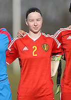 20150307 - TUBIZE , BELGIUM : Belgian Magali Dinon pictured during the friendly female soccer match between Women under 19 teams of  Belgium and Czech Republic . Saturday 7th March 2015 . PHOTO DAVID CATRY