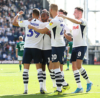 Preston North End's Daniel Johnson (Ctr) celebrates with team-mates after scoring the opening goal from the penalty spot<br /> <br /> Photographer Rich Linley/CameraSport<br /> <br /> The EFL Championship - Preston North End v Sheffield Wednesday - Saturday August 24th 2019 - Deepdale Stadium - Preston<br /> <br /> World Copyright © 2019 CameraSport. All rights reserved. 43 Linden Ave. Countesthorpe. Leicester. England. LE8 5PG - Tel: +44 (0) 116 277 4147 - admin@camerasport.com - www.camerasport.com
