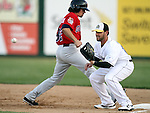 SIOUX FALLS, SD - JUNE 6:  John Alonso #23 from the Sioux Falls Canaries waits for the ball as Ryan Scoma #32 from Winnipeg steps back to first in the fourth inning Thursday night at the Sioux Falls Stadium. (Photo by Dave Eggen/Inertia)