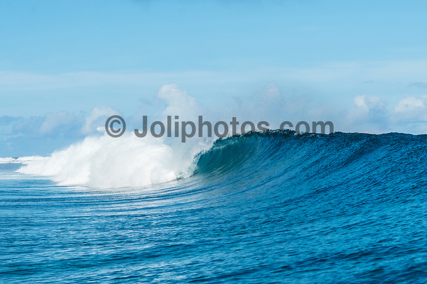 Namotu Island Resort, Namotu, Fiji. (Wednesday May 7, 2014) –  There were clean waves in the 3'-5' range today.There were sessions at Wilkes Pass, Namotu Lefts, Swimming Pools and Cloudbreak. The condtions at Cloudbreak were virtually flawless during the morning with light winds and  a building swell. The wind stayed light Trades until around 2 pm. Photo: joliphotos.com
