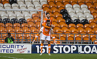 Goalscorer Kelvin Mellor of Blackpool celebrates with Armand Gnanduillet of Blackpool during the The Checkatrade Trophy match between Blackpool and Wycombe Wanderers at Bloomfield Road, Blackpool, England on 10 January 2017. Photo by Andy Rowland / PRiME Media Images.