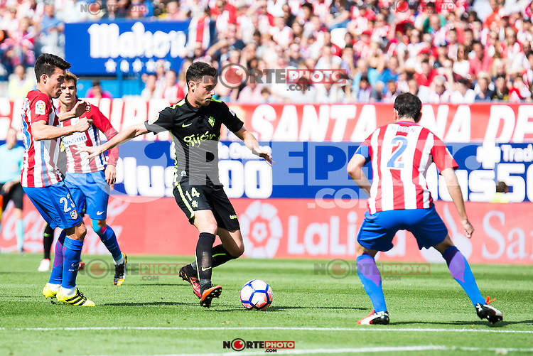 Atletico de Madrid's player Nico Gaitán and Diego Godín and Sporting de Gijon's Burgui during a match of La Liga Santander at Vicente Calderon Stadium in Madrid. September 17, Spain. 2016. (ALTERPHOTOS/BorjaB.Hojas) /NORTEPHOTO