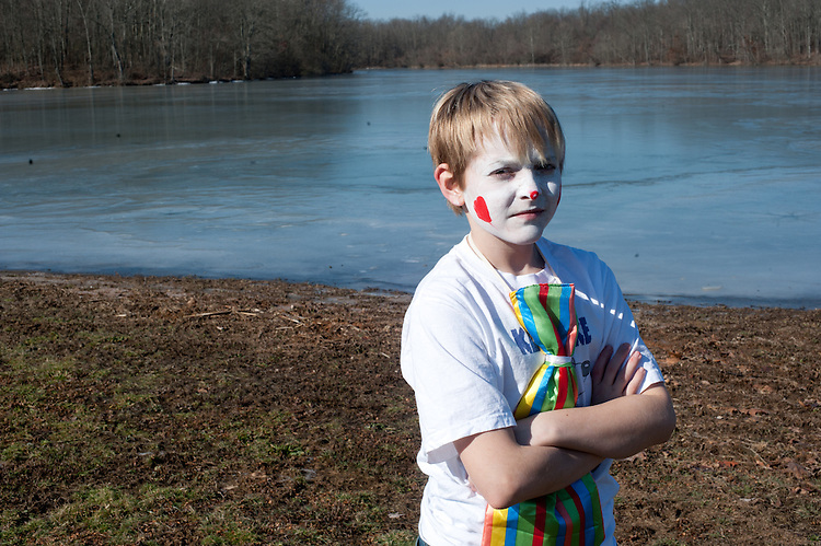 Jace Ward poses for a portrait at Lake Snowden during the  Ohio University Polar Plunge. Ward was an entrant in the Polar Plunge costume contest and won first place. Photo by: Ross Brinkerhoff.