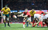Wales' Gareth Davies gets the ball away<br /> <br /> Photographer Simon King/CameraSport<br /> <br /> International Rugby Union - 2017 Under Armour Series Autumn Internationals - Wales v Australia - Saturday 11th November 2017 - Principality Stadium - Cardiff<br /> <br /> World Copyright &copy; 2017 CameraSport. All rights reserved. 43 Linden Ave. Countesthorpe. Leicester. England. LE8 5PG - Tel: +44 (0) 116 277 4147 - admin@camerasport.com - www.camerasport.com