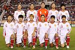 15 December 2012: China starters. Front row (l to r): Wang Dongni (CHN), Wang Shanshan (CHN), Li Ying (CHN), Wu Haiyan (CHN), Han Peng (CHN), Huang Yini (CHN). Back row (l to r): Pu Wei (CHN), Li Jiayue (CHN), Wang Fei (CHN), Wang Dongni (CHN), Zhang Rui (CHN). The United States Women's National Team played the China Women's National Team at FAU Stadium in Boca Raton, Florida in a women's international friendly soccer match. The U.S. won the game 4-1.