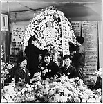 Five days after Chairman Mao's death, workers in Harbin's Arts and Crafts Factory make commemorative wreaths in preparation for the city's official memorial. Harbin, 14 September 1976