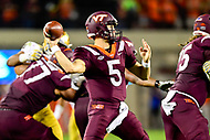 Blacksburg, VA - OCT 6, 2018: Virginia Tech Hokies quarterback Ryan Willis (5) throws a pass from the pocket during game between Notre Dame and Virginia Tech at Lane Stadium/Worsham Field Blacksburg, VA. (Photo by Phil Peters/Media Images International)