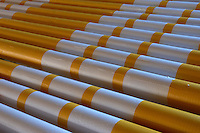 Fresh painted poles for show jumping. <br /> Falsterbo Horse Show, Sweden.<br /> March 2005.