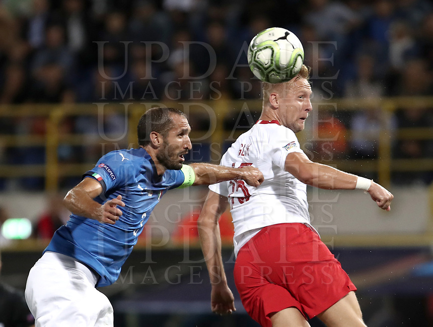 Football: Uefa Nations League match Italy vs Poland, Renato Dall'Ara stadium, Bologna, Italy, September 7, 2018. <br /> Poland's Kamil Glik (r) in action with Italy's captain Giorgio Chiellini (l) during the Uefa Nations League match between Italy and Poland at the Renato Dall'Ara stadium, Bologna, Italy, September 7, 2018. <br /> <br /> UPDATE IMAGES PRESS/Isabella Bonotto