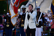 Washington, DC - May 28, 2016: American Idol season 15 winner Trent Harmon performs the national anthem at the National Memorial day concert dress rehearsal on the west lawn of the U.S. Capitol in the District of Columbia, May 28, 2016.  (Photo by Don Baxter/Media Images International)