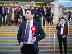 © Joel Goodman - 07973 332324 . 05/05/2017 . Manchester , UK . ANDY BURNHAM poses for photos outside the venue , after winning the race . The count for council and Metro Mayor elections in Greater Manchester at the Manchester Central Convention Centre . Photo credit : Joel Goodman