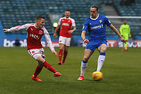 George Glendon of Fleetwood Town crosses the ball during the Sky Bet League 1 match between Gillingham and Fleetwood Town at the MEMS Priestfield Stadium, Gillingham, England on 27 January 2018. Photo by David Horn.