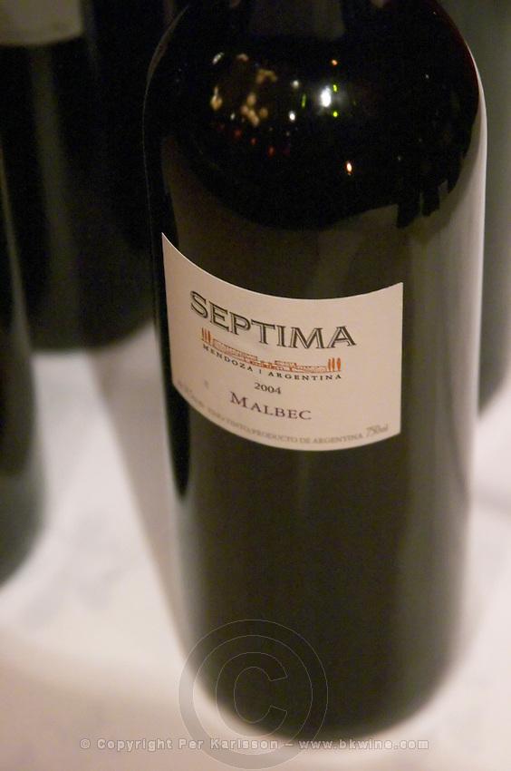 Bottle of Septima Mendoza 2004 Malbec from Codorniu Mendoza. The Oviedo Restaurant, Buenos Aires Argentina, South America