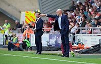 Manager Uwe Rosler of Fleetwood Town (right) and Manager Justin Edinburgh of Northampton Town during the Sky Bet League 1 match between Northampton Town and Fleetwood Town at Sixfields Stadium, Northampton, England on 12 August 2017. Photo by Alan  Stanford / PRiME Media Images.